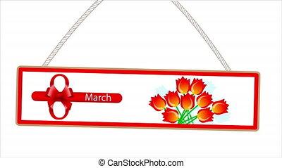 8, mars, panneau affichage