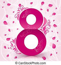 8, marzo, donne, giorno, scheda, con, elementi floreali