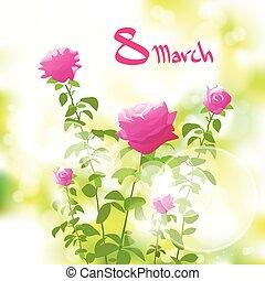 8, marzo, scheda regalo, con, rosa colore rosa, sopra, verde, primavera, offuscamento
