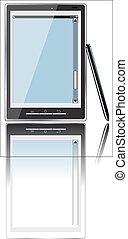 8, mobile, réaliste, esp, iphone-style, illustration, isolé, téléphone, vecteur, écran blanc, arrière-plan., gadget., blanc