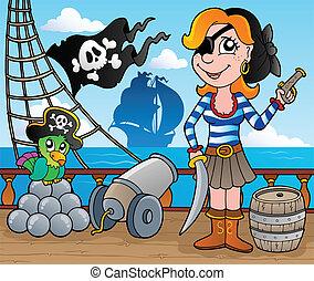 8, navio, convés, tema, pirata