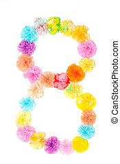 """""""8"""" Number alphabet flowers made from paper craftwork"""