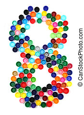 8 - number from the plastic caps