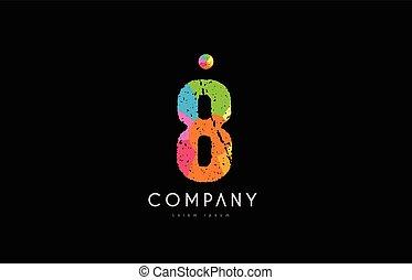 8 number grunge color rainbow numeral digit logo