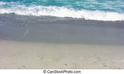 8, plage, sablonneux, vagues