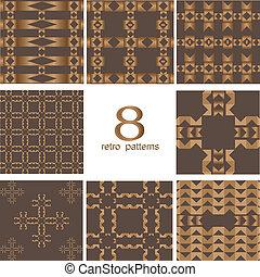 8, retro, diferente, vector, seamless, patrones