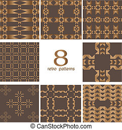 8 Retro different vector seamless patterns
