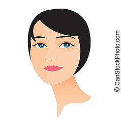 8, rosto mulher