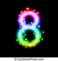 8, scintillement, nombre