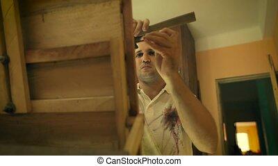 8 Sculptor Painter Artist Chiseling A Wooden Bas Relief -...