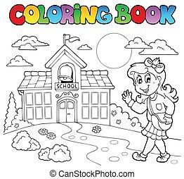 8, scuola, libro colorante, cartoni animati
