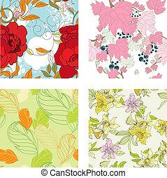8, seamless, blumen-, satz, pattern.