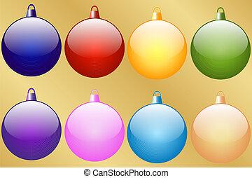 8, set, baubles, kerstmis