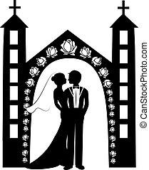 8, silhuet, bryllup