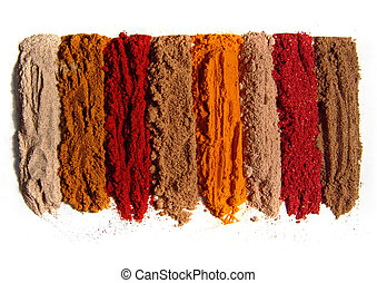 8 spices - Range of spices. Indian spices. Isolated on white...
