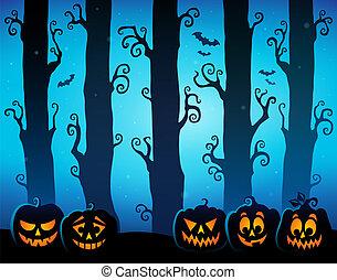 8, tema, dia das bruxas, floresta, imagem