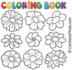 8, thema, kleurend boek, bloem