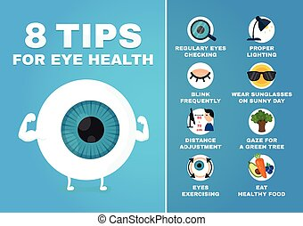 8 tips for eye health infographic. how to health care eyes