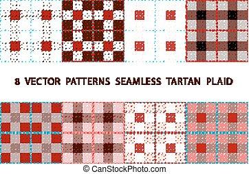 8 VECTOR PATTERNS SEAMLESS TARTAN PLAID brown set