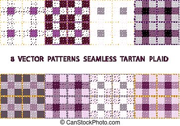 8  VECTOR  PATTERNS  SEAMLESS  TARTAN  PLAID violet purple set