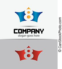 8, vektor, logo., zahl, logotype