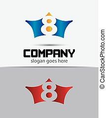 8, vetorial, logo., número, logotype