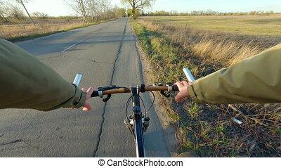 8, vitesse, gopro, entiers, équitation, montagne, pov., bike...
