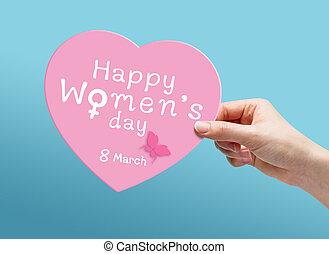 8, womens, maart, dag, vrolijke