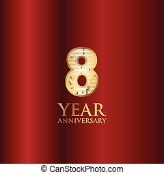 8 Year Anniversary Gold With Red Background Vector Template Design Illustration