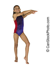 8 year old girl in gymnastics poses