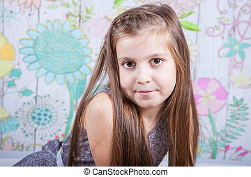 8 year old girl - Portrait of a 8 year old girl, nicely...