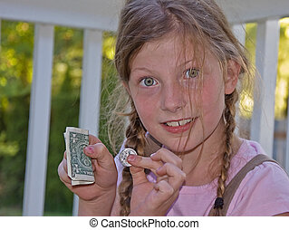 8 Year Old Girl With Allowance - This cute 8 year old girl...