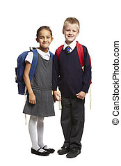 8 year old school boy and girl on white background - 8 year ...