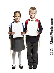 8 year old school boy and girl with blank white cards...