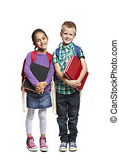 8 year old school boy and girl with backpacks holding books...