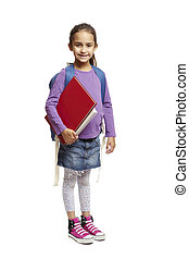 8 year old school girl with backpack on white background - 8...