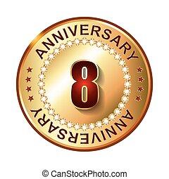 8 year anniversary golden label 8th anniversary decorative red