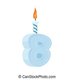 8 years birthday. Number with festive candle for holiday cake. eight  Anniversary