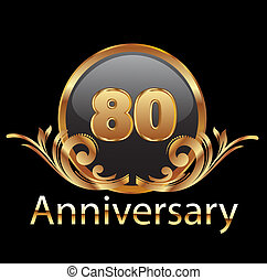 80, 년, 기념일, 생일