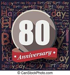 80, 생일 축하합니다, 배경, 또는, card.