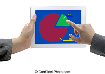 80-20 Rule on Tablet - Business Hand Select on Best 20 Graph...