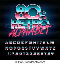 80, alfabeto, lettere, effetto, retro, numbers., metallico, tipo, font.