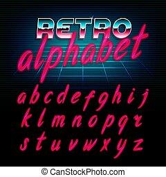 80, baluginante, letters., alfabeto, minuscolo, effetto, retro, font., splendore