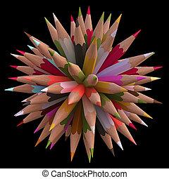 80 Color Pencils - Colored pencils arranged in sphere....