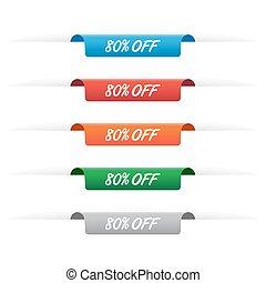 80%, desligado, tag papel, etiquetas