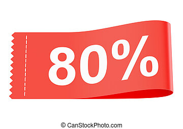 80% discount clothing tag, 3D rendering