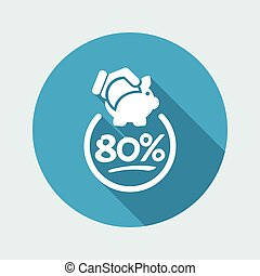80% Discount label icon