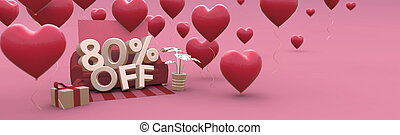80 Eighty percent off - Valentines Day Sale horizontal 3D-banner with copy space.