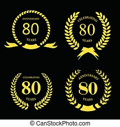 80 eighty years icon Template for celebration and ...