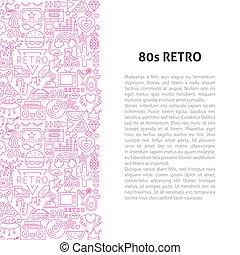 80, mönster, fodra, begrepp, retro
